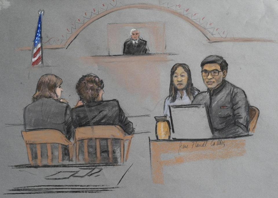 Dun Meng (far right) is depicted in a courtroom sketch testifying in the trial of Dzhokhar Tsarnaev.
